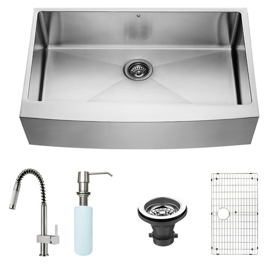 Vigo 36 In X 22 25 In Stainless Steel Single Basin Apron Front