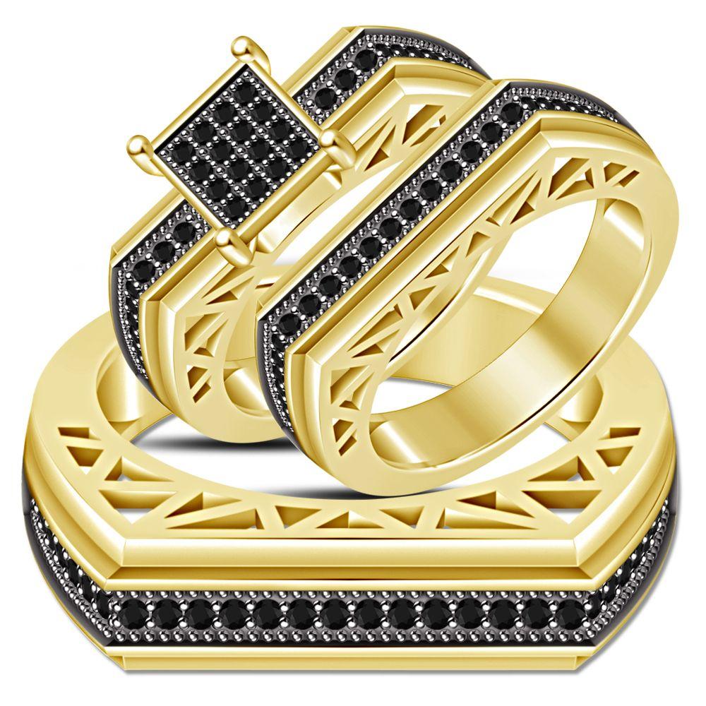 Trio Set Engagement Ring Wedding Band Diamond 18k Yellow