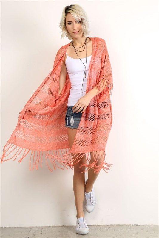 A Million Miles Fringe Knit Kimono Cardigan – The Laguna Room ...