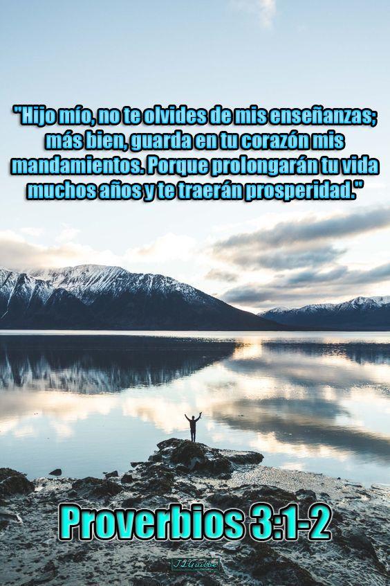 """- Proverbios 3:1-2 - """"Hijo mío, no te olvides de mis enseñanzas; más bien, guarda en tu corazón mis mandamientos. Porque prolongarán tu vida muchos años y te traerán prosperidad."""""""