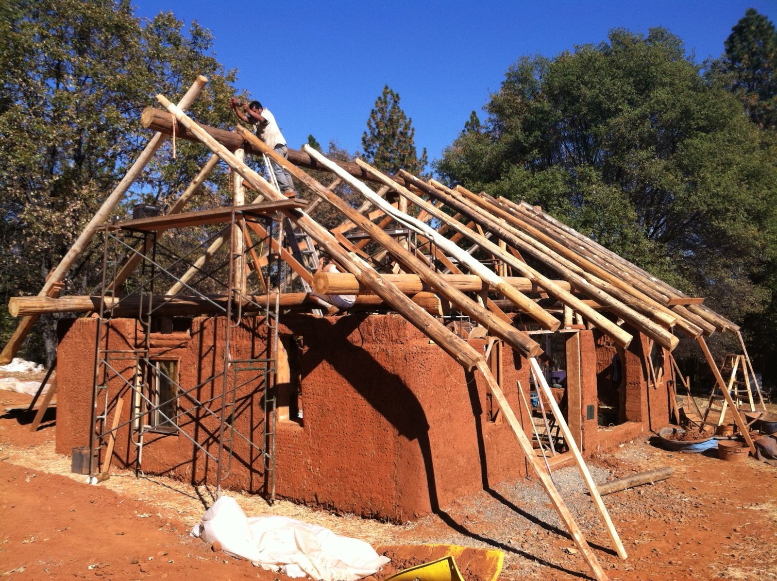 Bale Cob Round Wood Timber Frame Structure To Code Wood