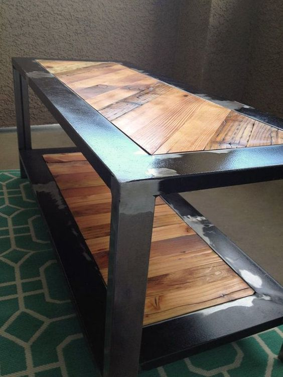 Industrial Rustic Coffee Table Reclaimed From Salvaged Wood And Metal On Etsy Tables
