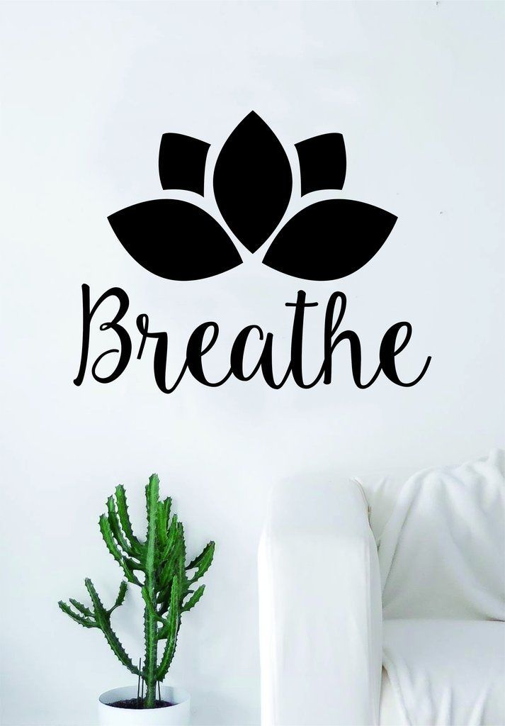 Photo of Breathe Lotus Flower Quote Decal Sticker Wall Vinyl Art Decor Namaste Yoga Mandala Om Meditate Zen Buddha