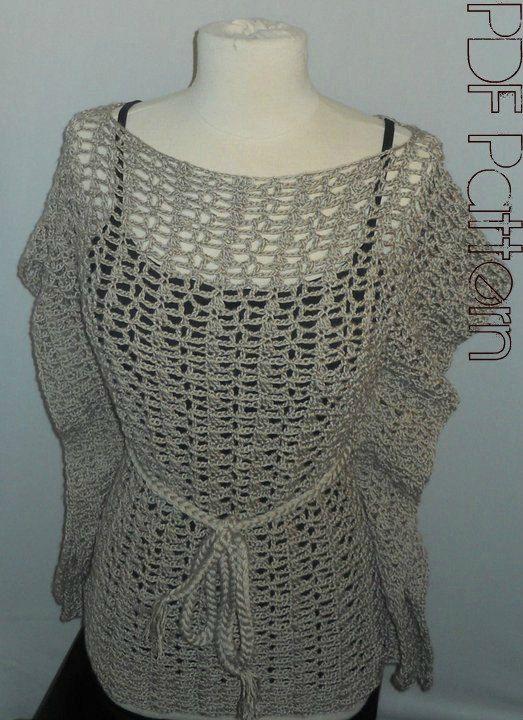 Free Crochet Plus Size Dress Pattern : Crochet Top Pattern - Crochet Kimono - Plus Size Crochet ...