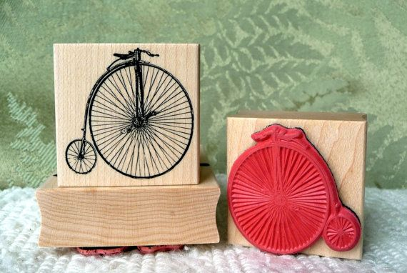Penny Farthing Bicycle rubber stamp from by oldislandstamps, $9.75