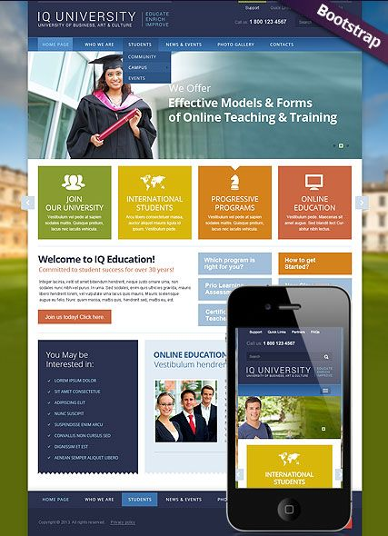 Bootstrap Website Templates Iq University Website Template Bootstrap Design Responsive Html