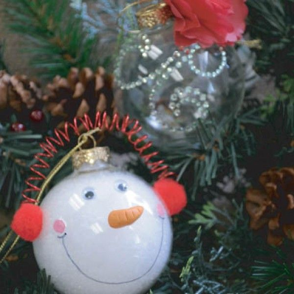 Create clear glass ornaments for the holidays with this for Clear ornament snowman craft