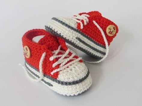 Babyschuhe häkeln / trendige Babyturnschuhe | Babyschuhe ...