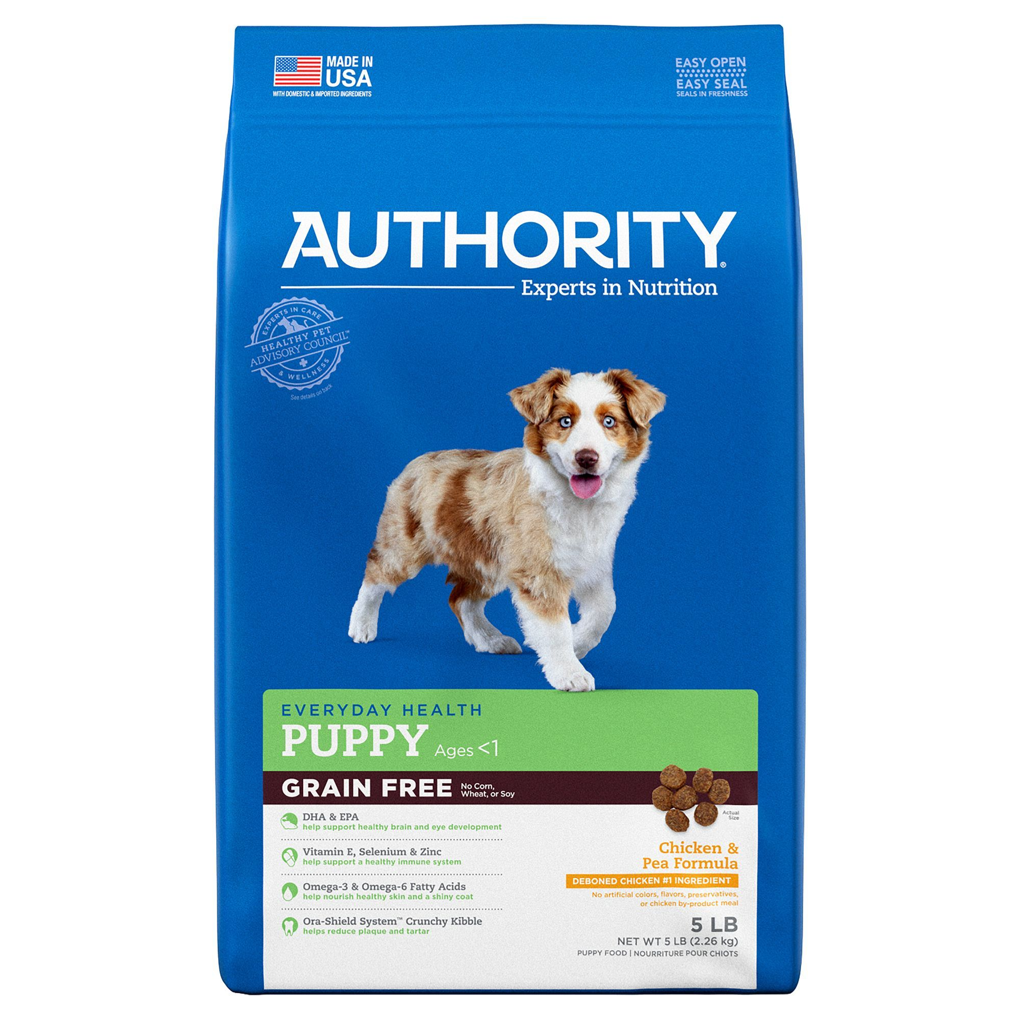 Authority Puppy Food Grain Free Chicken And Pea Size 5 Lb