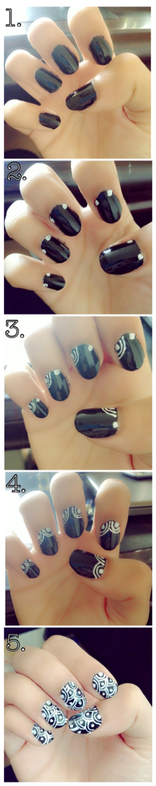 DIY nail art.Black and White. 1.Apply base coat on your nails.Apply black nail polish on it. 2.Make two dots on the ends. 3.Border the dots with curves. 4.Repeat the process until you are done.