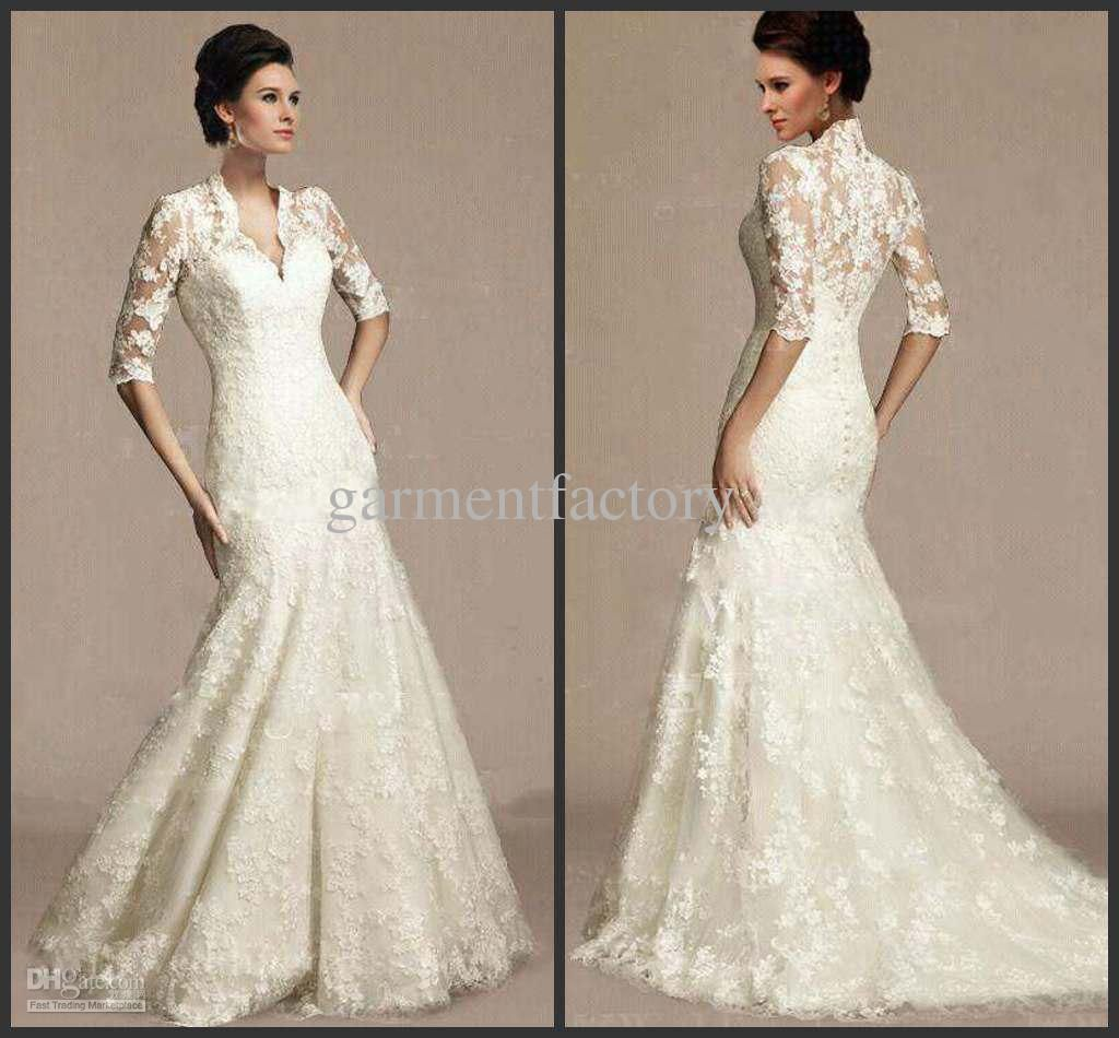Victorian Half Sleeved Bridal Wedding Dresses V-neck Mermaid Chapel ...