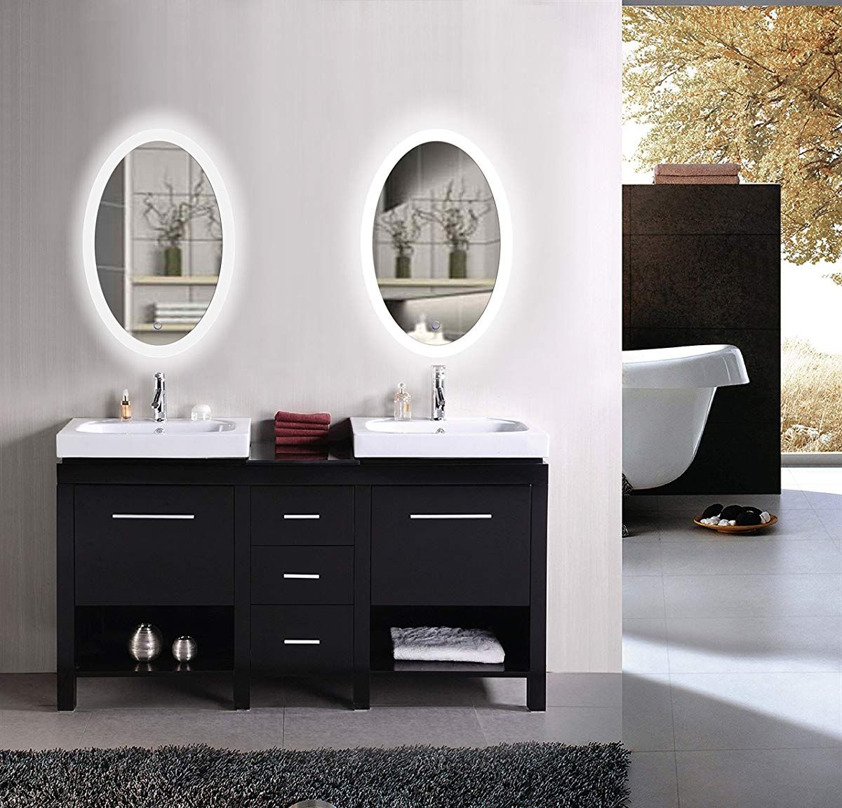 Krugg Oval Led Bathroom Mirror 20 Inch X 30 Inch Led Mirror
