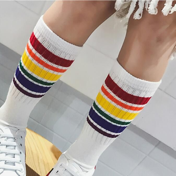 071ea6c64 Girls boys football socks striped colored rainbow knee socks cotton school  sports white long sock for kids baby boy children. Yesterday s price  US   2.39 ...