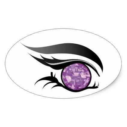 Eye see you june light purple amethyst oval sticker light gifts template style unique special