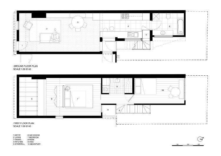 Schmales Haus Design Wiederaufbau Architektur Terrasse Schlafzimmer Wohnzimmer Kuche Bad Grundriss Entwurf