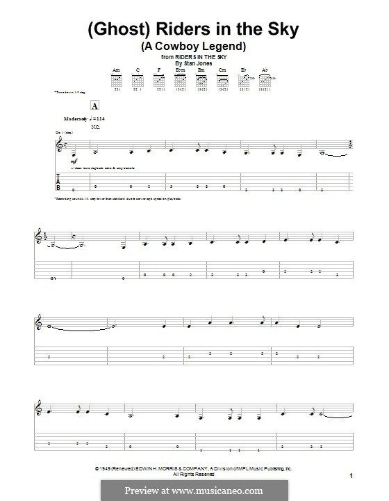 Ghost) Riders in the Sky (A Cowboy Legend): For guitar with tab by ...