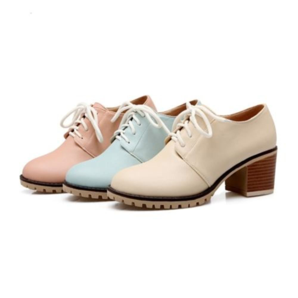 12c6c9b9b90 British Womens Round Toe Block Chunky Heel Mary Janes Lace Up Heel Shoes 3  Color