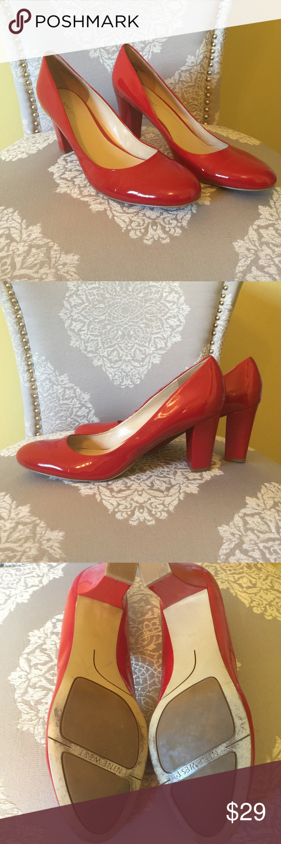 "Nine West Red Patent Leather Pumps 👠 👠👠👠 PERFECT FOR VALENTINES DAY ❤️❤️❤️Hot Red Patent Leather Pumps, worn only 1 time and in excellent condition. 3"" in heel and padded footbed. I just can't wear heels anymore so I'm cleaning out the closet!! Nine West Shoes Heels"