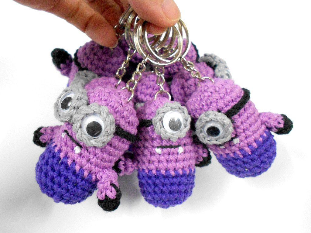 Evil Minion inspired Crochet amigurumi doll toy, key ring, Fob bag ...