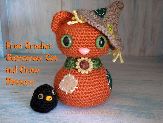 Halloween Amigurumi Crochet Pattern : Free crochet amigurumi scarecrow cat and crow pattern by the
