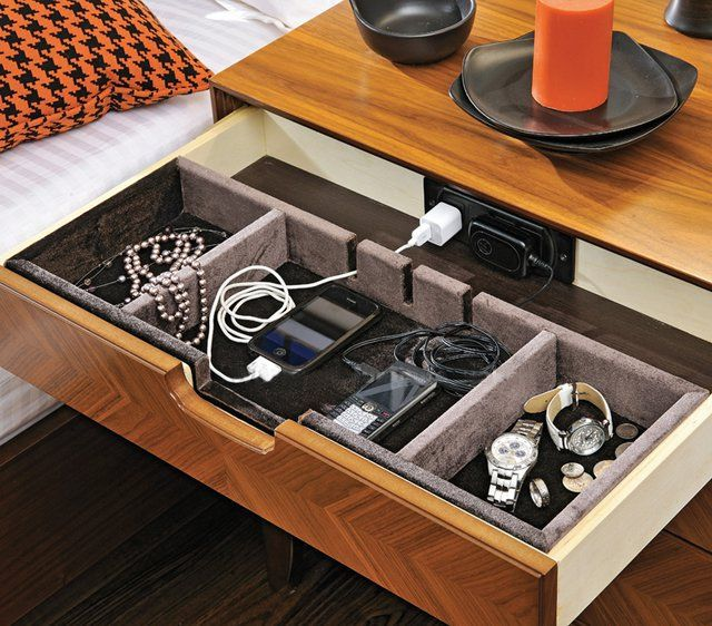Elia Nightstand with Power Dock is part of Nightstand Drawer Organization -