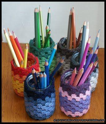 Granny Stripe jar cozy #crochet