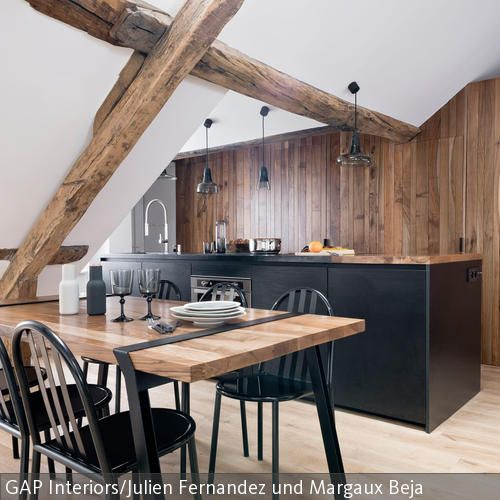 Moderne Küche mit Holzbalken aufwerten | Küche & Insel | Küche ...