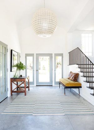 Large Entryway With Oversized Pendant Chandelier Foyer Ideas