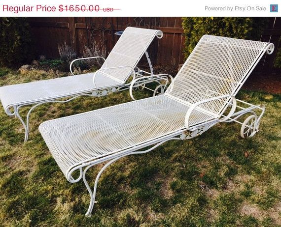 60% OFF EASTER SALE Vintage Wrought Iron Salterini Woodard Mesh Metal  Chaise Lounge Chairs
