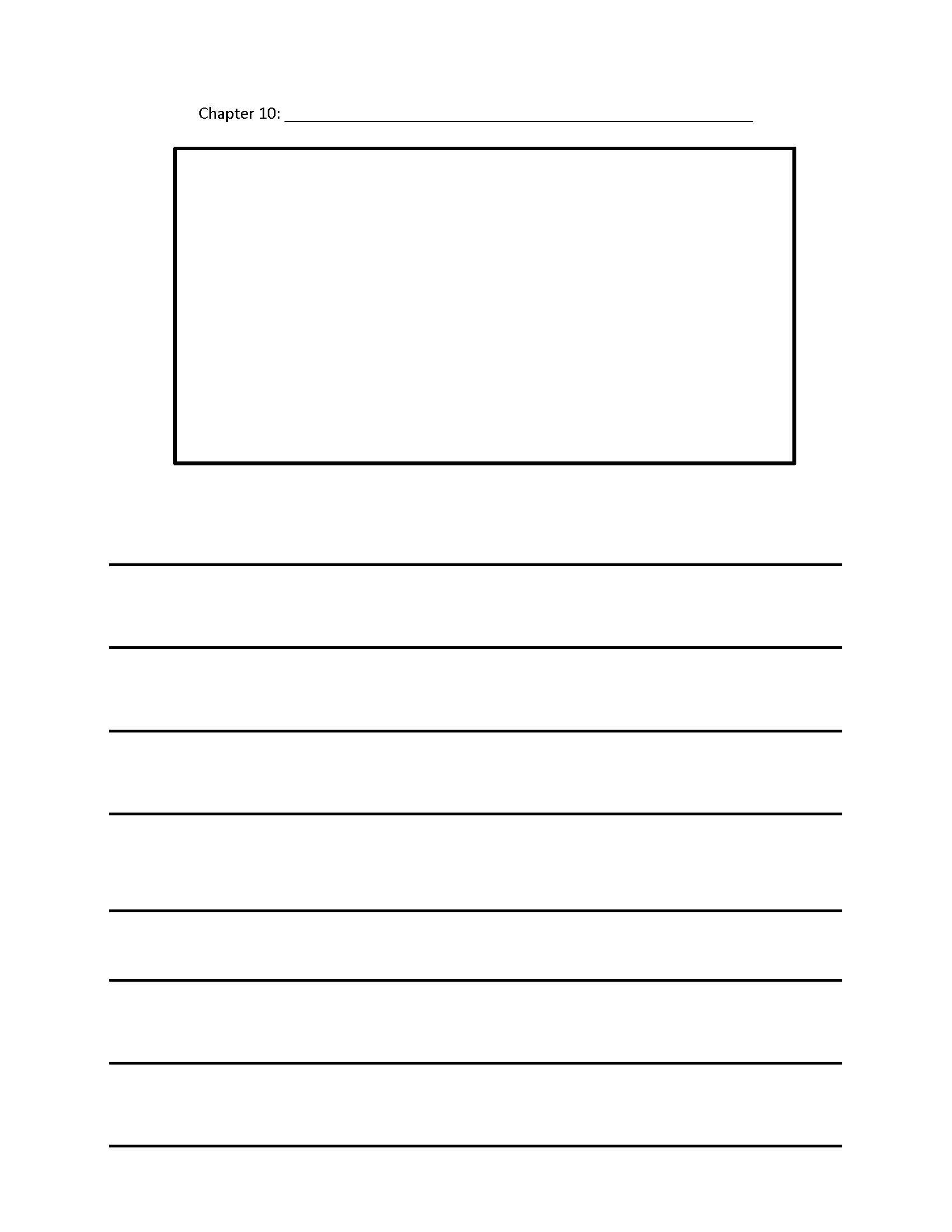 Form for Chapter 10 of a chapter book. Includes space for a illustration.