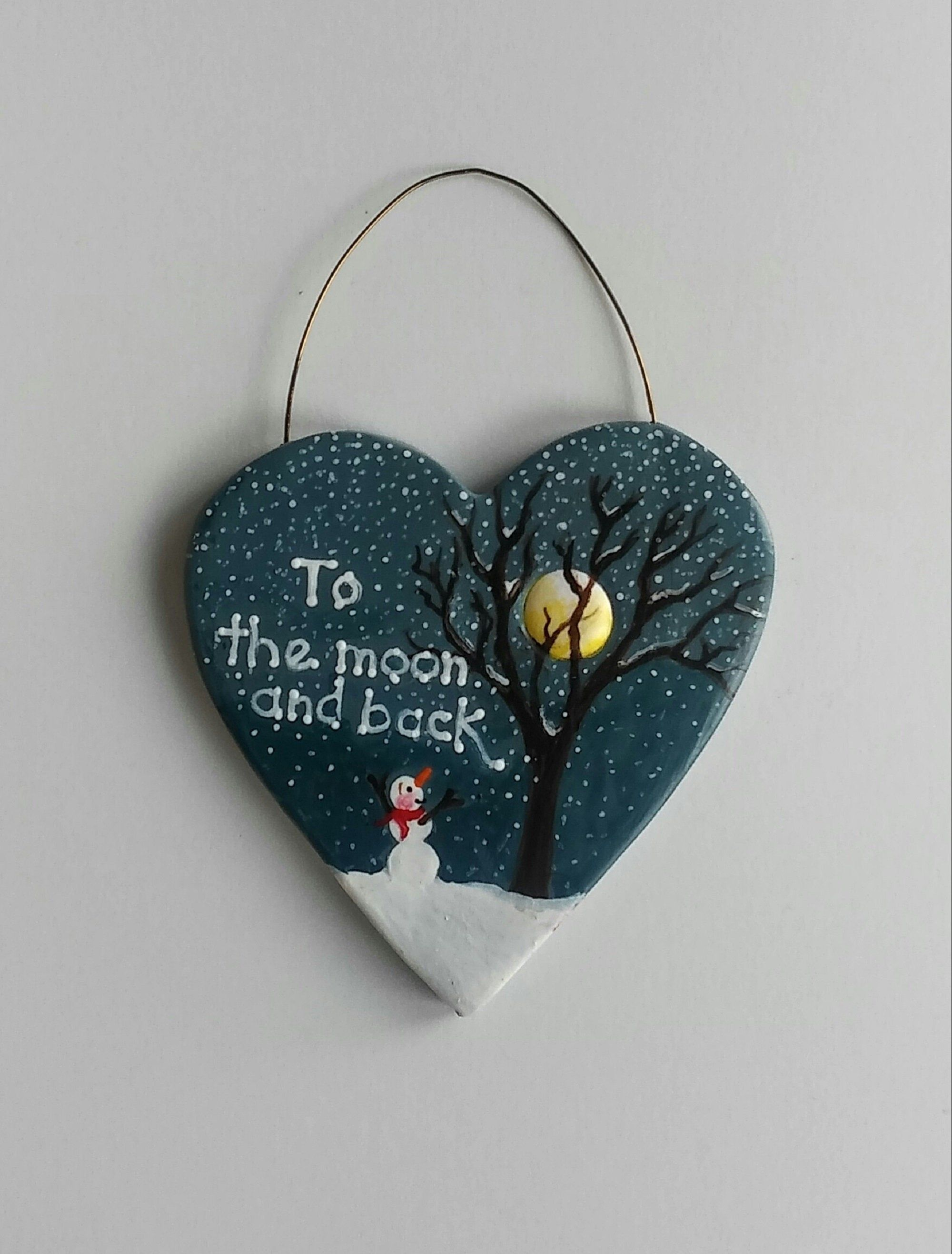 Polymer Clay Hand Painted Heart Shape To The Moon And