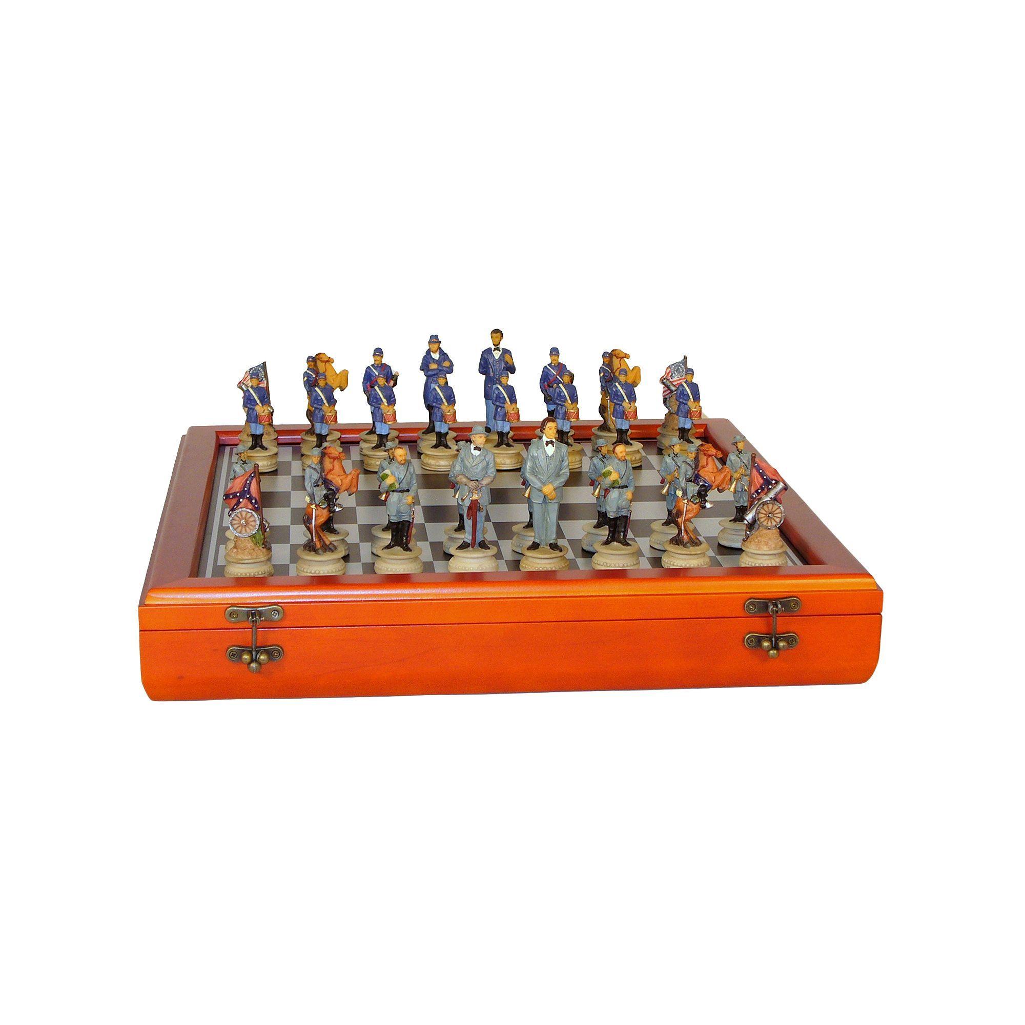 WorldWise Imports Civil War Generals Chess Set & Cherry