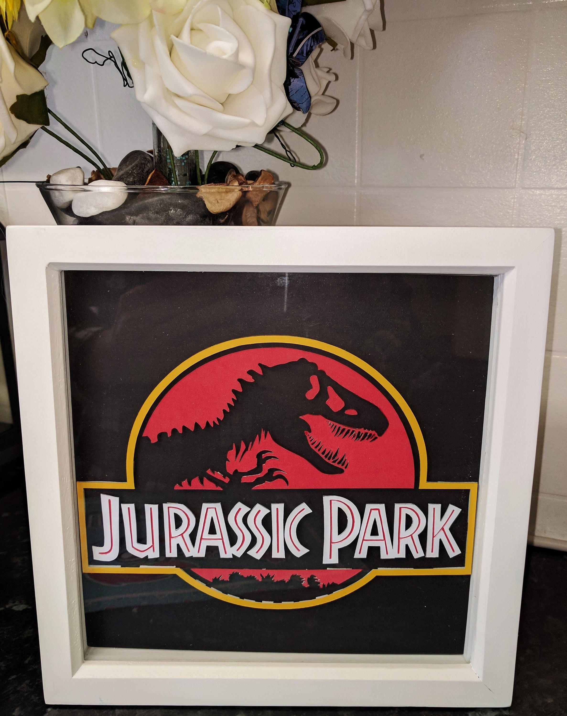 Jurassic Park 3D Shadow Box Framed Diorama Retro Movie