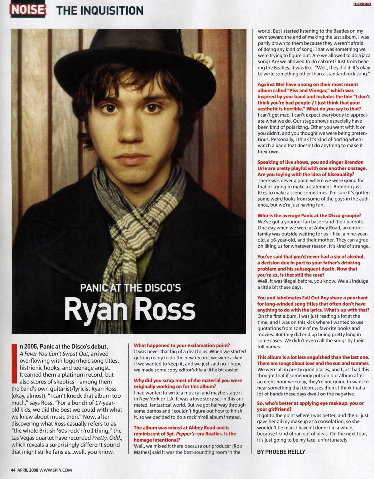 panic! At the Disco's Ryan Ross in SPIN Magazine April 2008