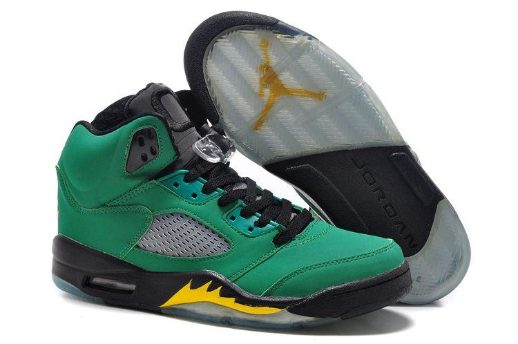 2a00caaec945a2 2018 Discount Air Jordan 5 Oregon Ducks Green Black Yellow Size Euro 44.5  Cheap Jordan Shoes