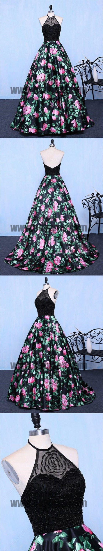 19b1b9f346b Chic A Line Prom Dress Modest Beautiful Floral Cheap Long Black Prom Dress