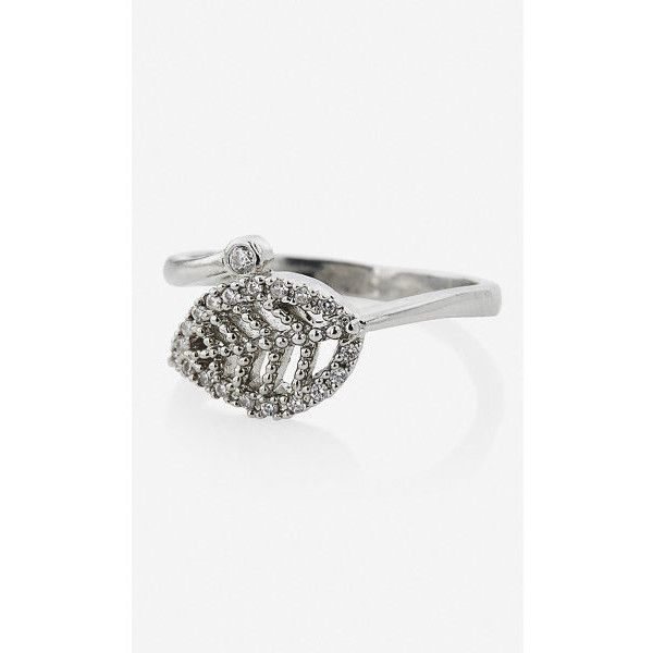 Express Wrapped Pave Leaf Ring ($20) ❤ liked on Polyvore featuring jewelry, rings, silver, boho rings, drusy jewelry, bohemian rings, druzy jewelry and druzy ring