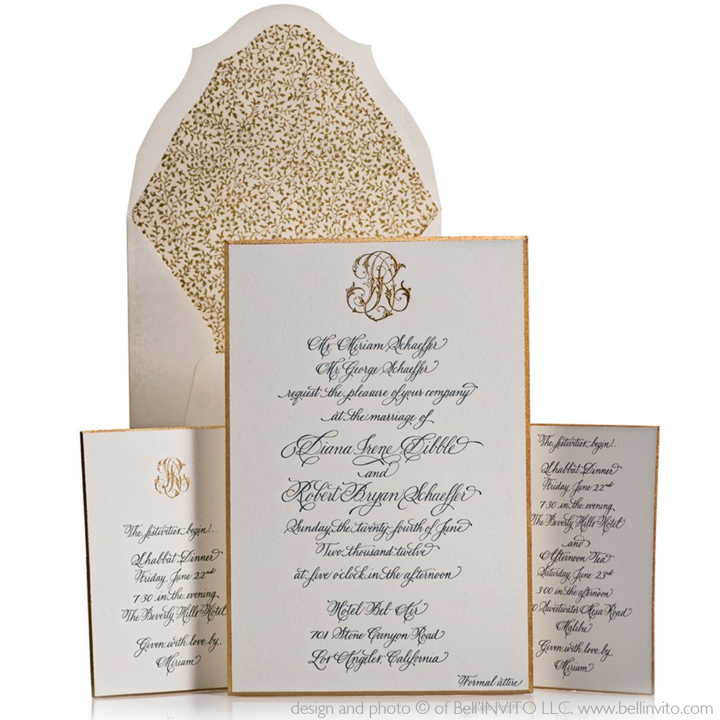 formal wedding invitation with an etiquette appropriate monogram ...
