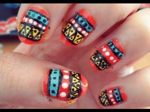 Tribal nail art tutorial!! | Tribal nails, Nail art ...