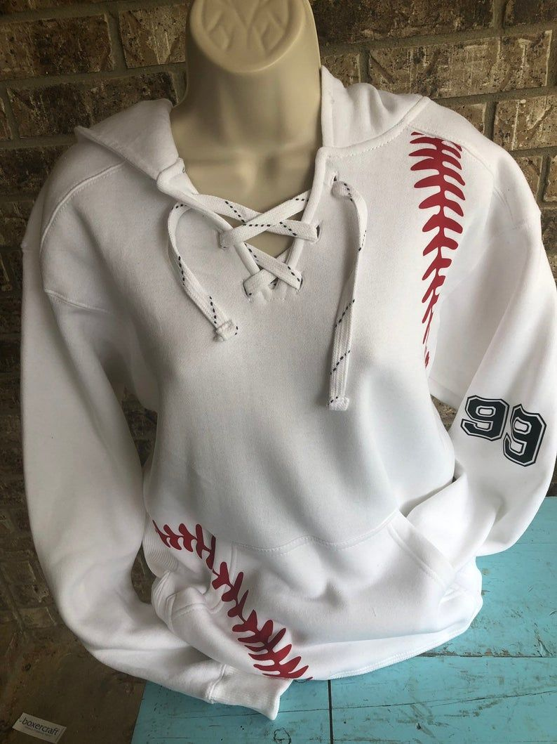 Photo of Baseball Hoodie with lace up front and baseball laces on the sides | Baseball sweatshirt | baseball mom hoodie | Baseball Hoody- UNISEX