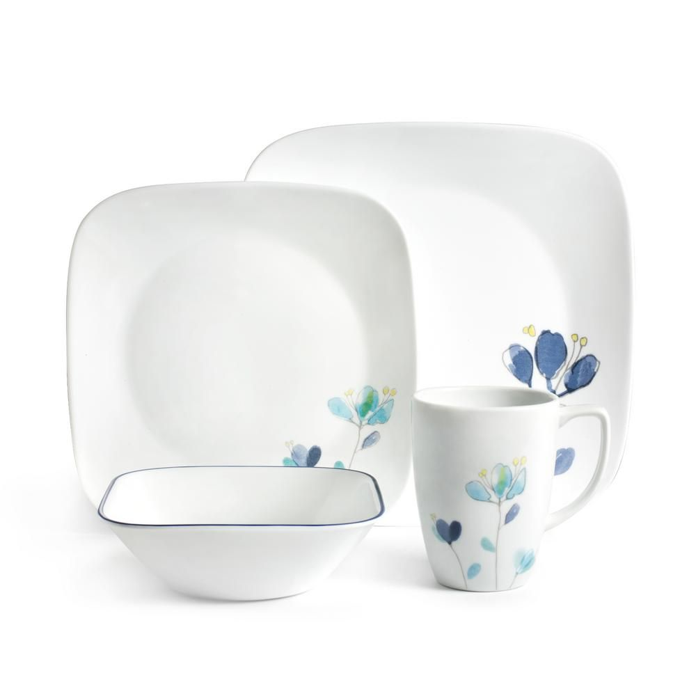 Corelle Square 16 Piece Dalena Dinnerware Set 1127692 White