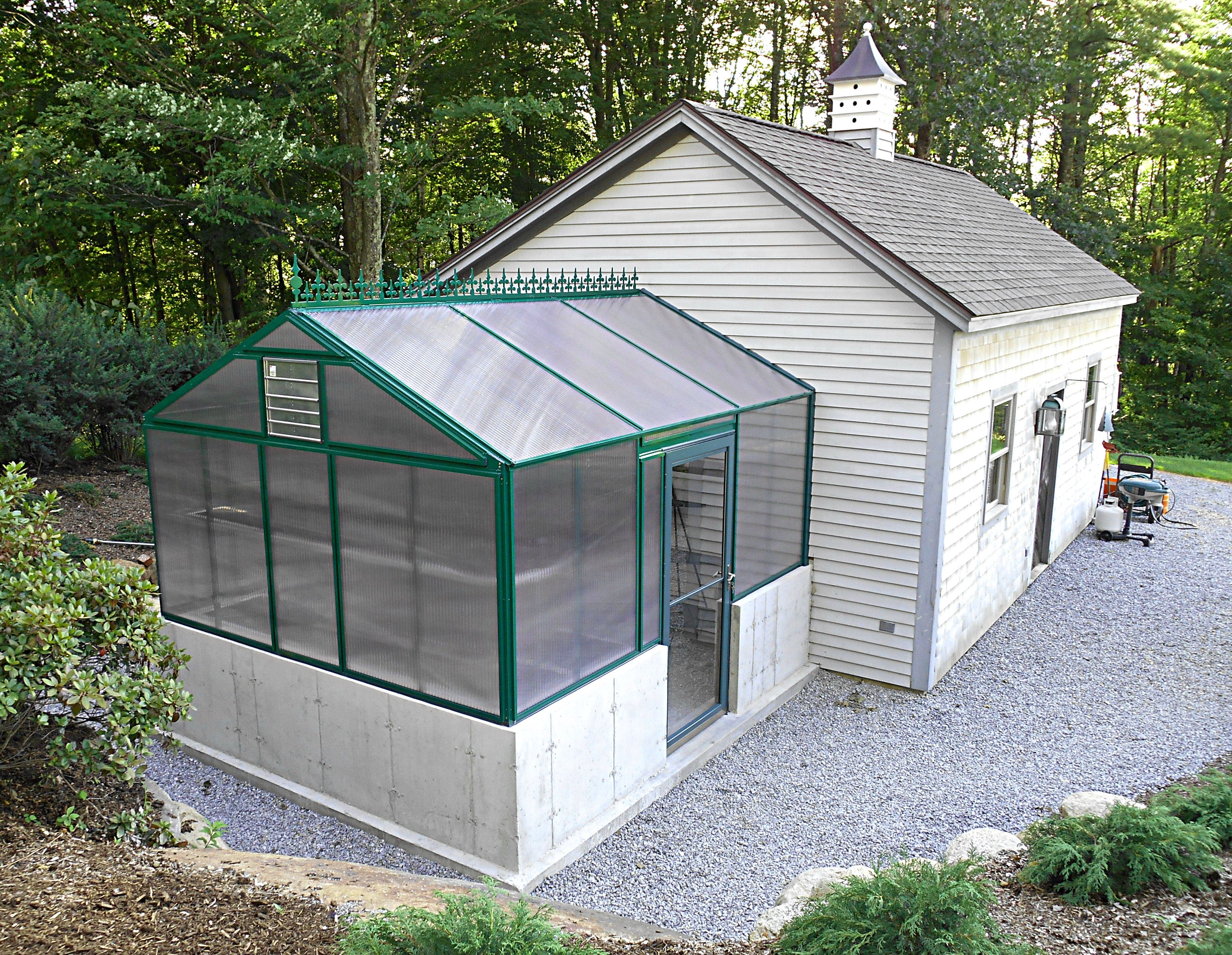 Check Out His 10x12 Even Span Gable Attached Greenhouse On A Kneewall Greenhouse Landscape Photo