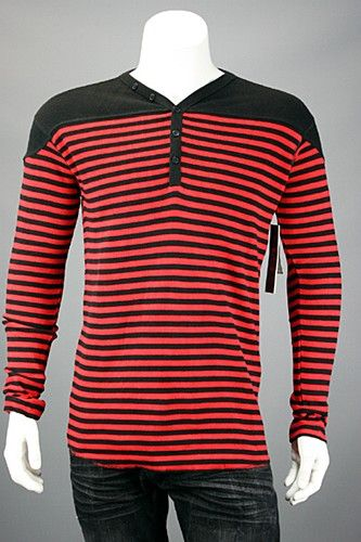 e568a2a6371d Jordan Craig Solid Shoulder Double Striped Henley Thermal Black - Red MD