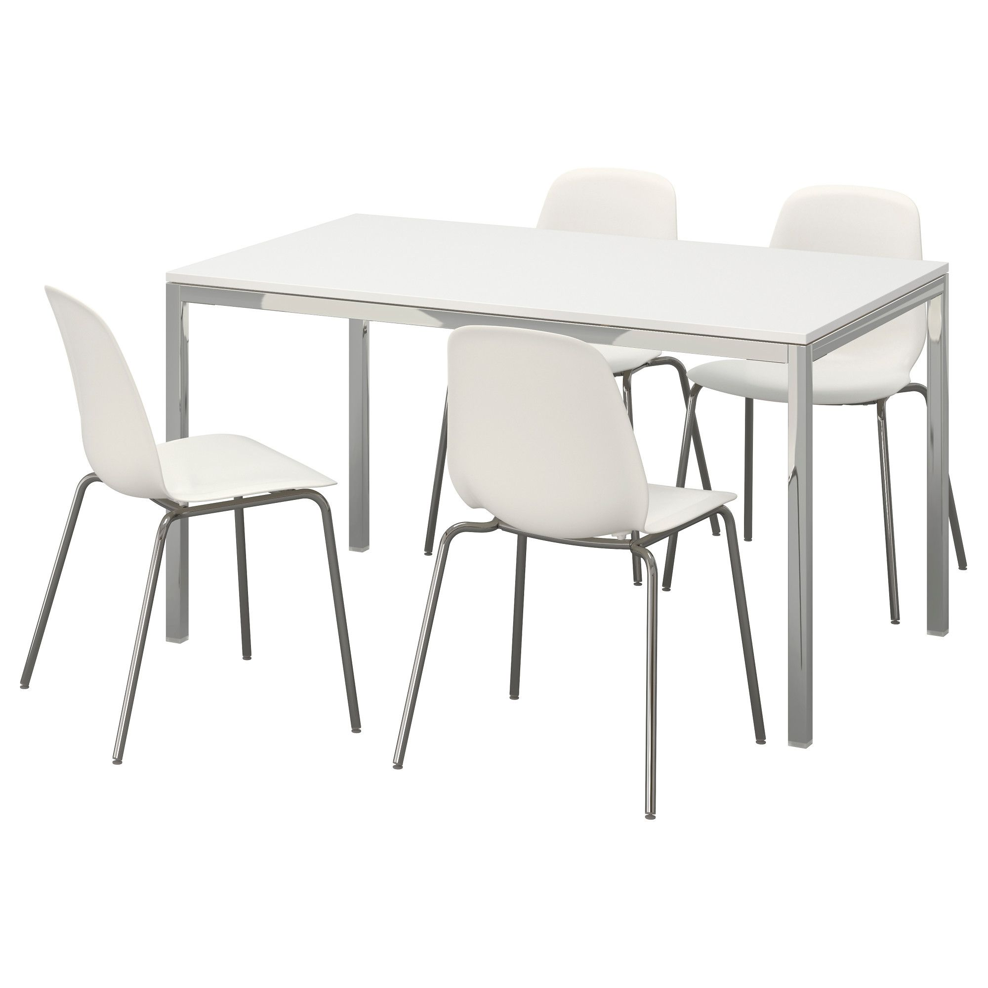 TORSBY / LEIFARNE Table and 4 chairs, highgloss white