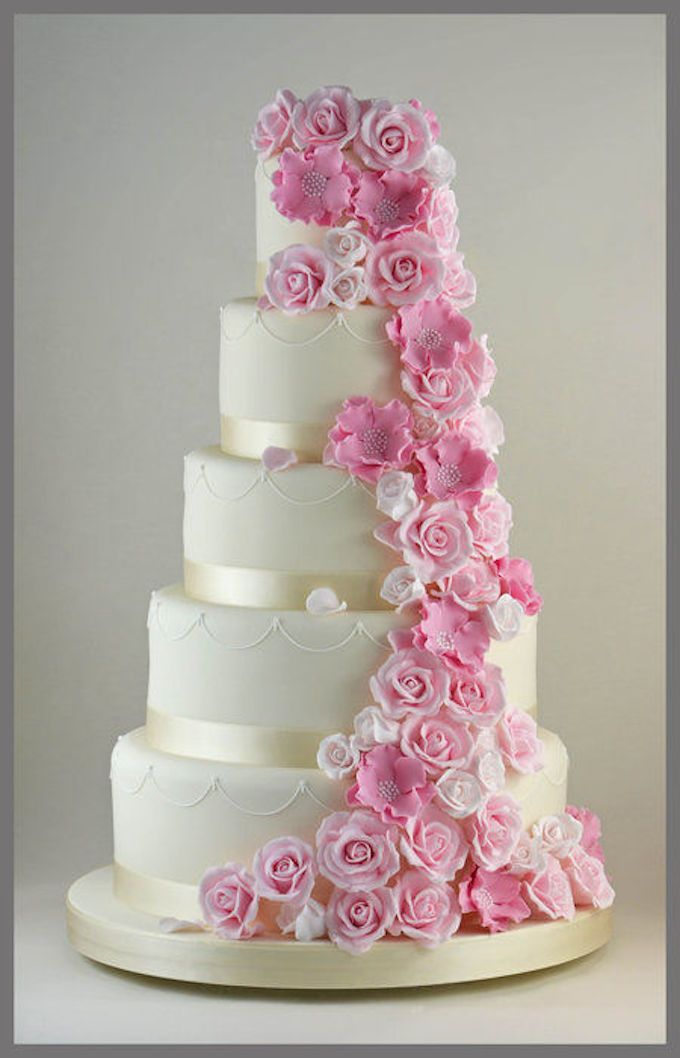 121 Amazing Wedding Cake Ideas You Will Love Cascading FlowersPink