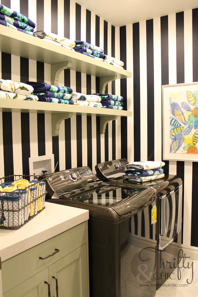 Design Your Own Laundry Room: Model Home Monday {Navy Blue, Pink And Bold}