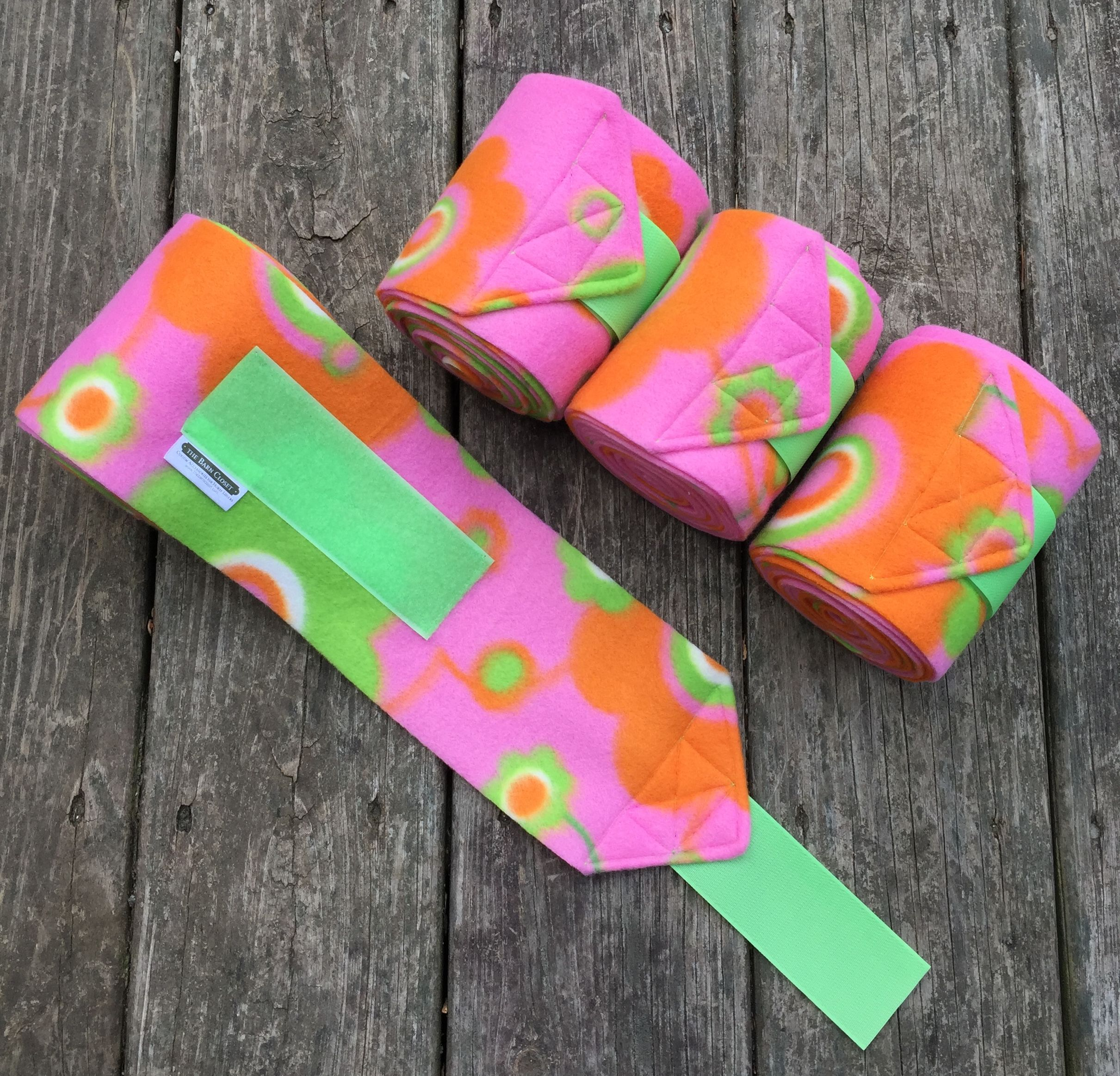 Custom Pink Lime Orange Flower Polo Wraps by The Barn Closet Horse or Pony Size