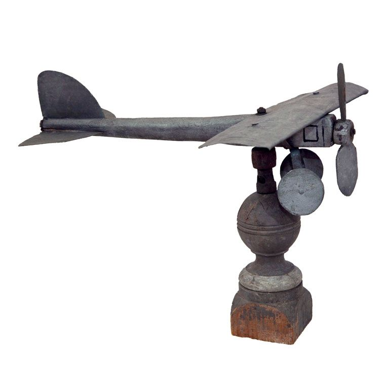 Vintage Tower Of Winds Weathervane: Articulated Airplane Weathervane