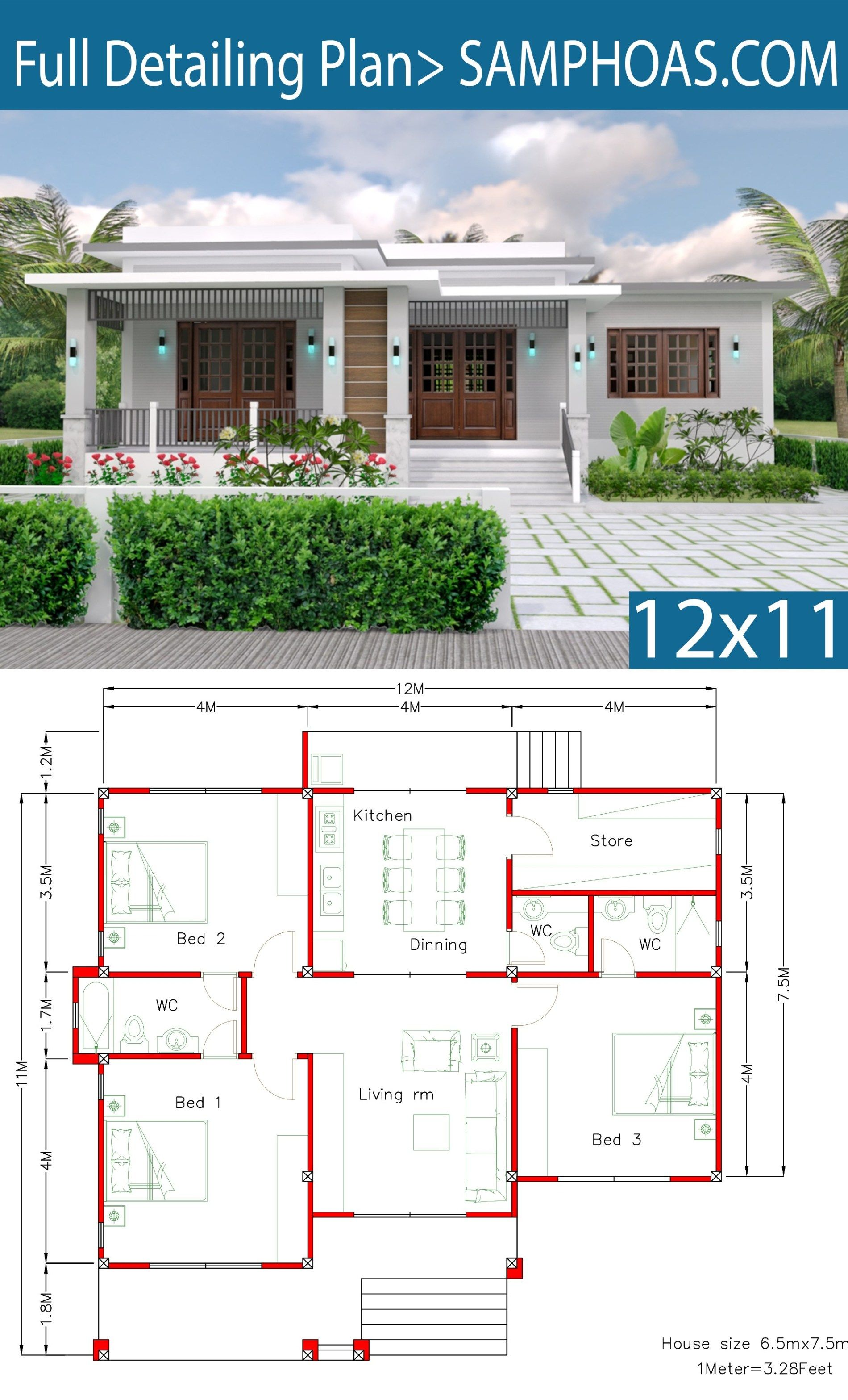 House Plans 12x11m with 3 Bedrooms - SamHousePlans