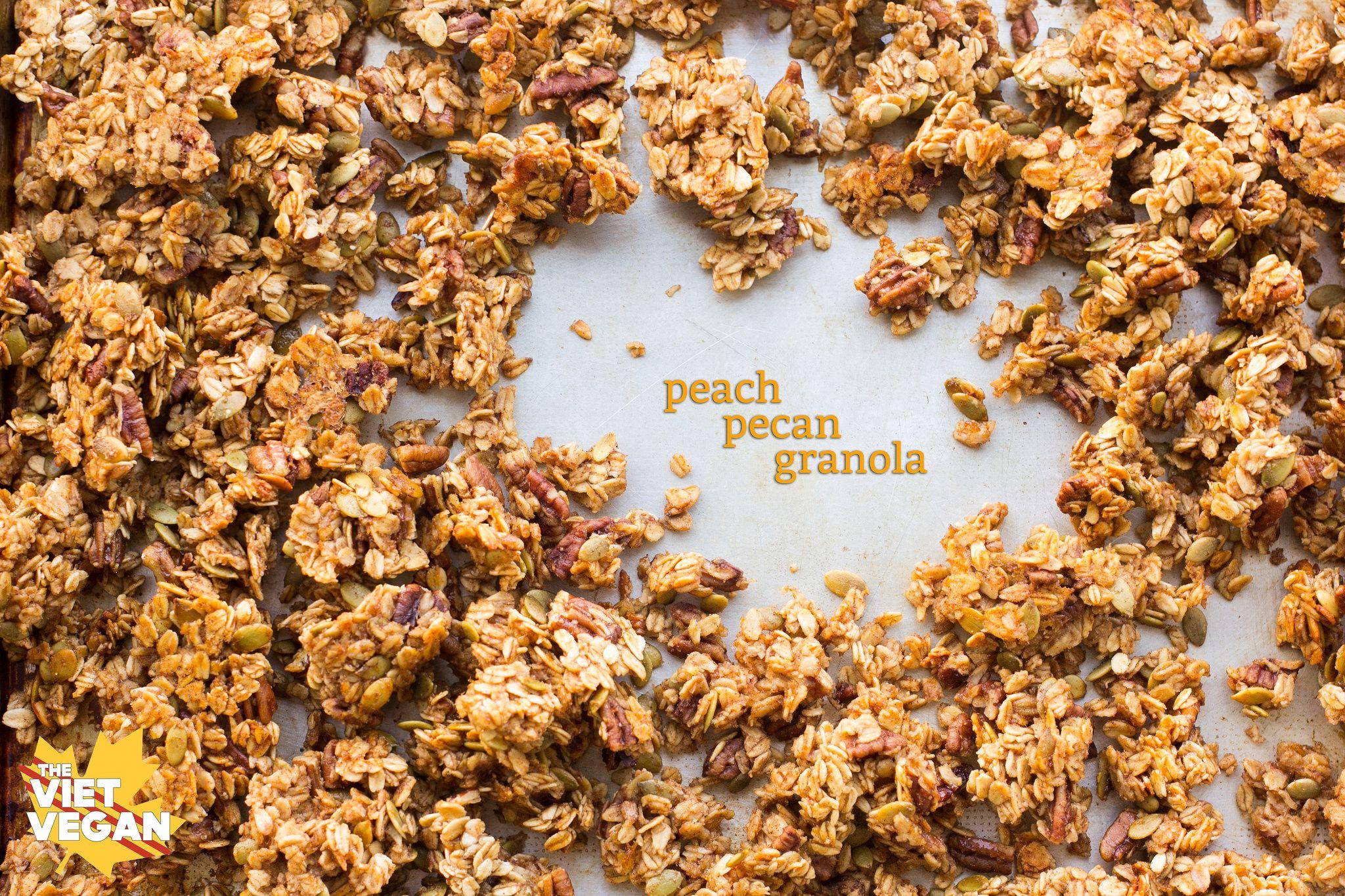 Peach Pecan Granola | Recipe | Granola, Vegan, Grilled fruit